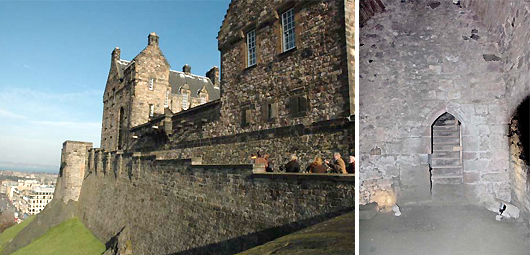 Edinburgh Castle and inside Davids Tower
