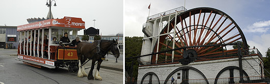 Horse drawn tram and Laxey Wheel